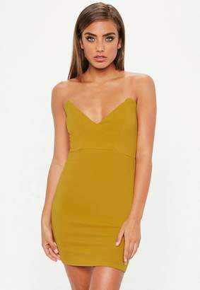 Missguided Mustard Yellow Crepe Bodycon Dress