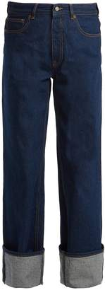 MM6 MAISON MARGIELA Turned-up cuff high-rise wide-leg jeans