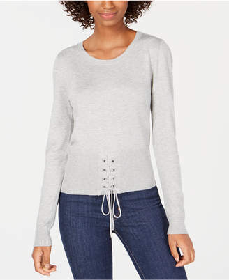 Hooked Up by Iot Juniors' Crew-Neck Lace-Up Sweater