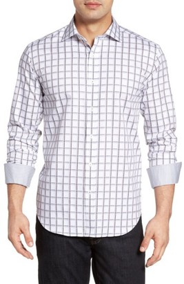 Men's Big & Tall Bugatchi Shaped Fit Check Jacquard Sport Shirt $149 thestylecure.com
