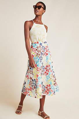 Eva Franco Meghan Embroidered Midi Skirt