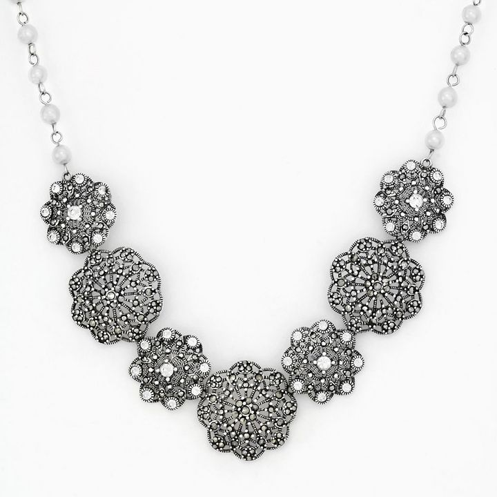 Sterling silver marcasite, crystal & simulated pearl filigree flower necklace
