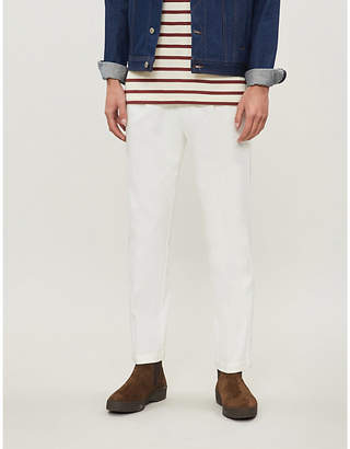 Eleventy Loose-fit straight stretch-cotton trousers