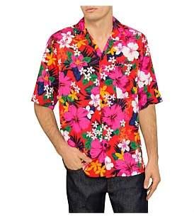 Ami Floral Print S/S Shirt W/ Camp Collar