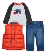 Little Me Puffer Vest, T-Shirt & Jeans Set