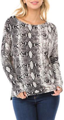 Ariella Usa Snakeprint Lace-up back Knit Top