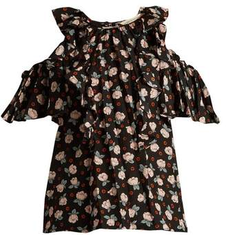 Rebecca Taylor Rosalie Floral Print Cut Out Shoulder Silk Top - Womens - Black Print