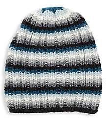 Portolano Women's Striped Cashmere Knit Slouchy Beanie