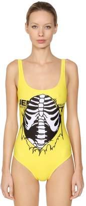 Jeremy Scott Skeleton Print Lycra One Piece Swimsuit