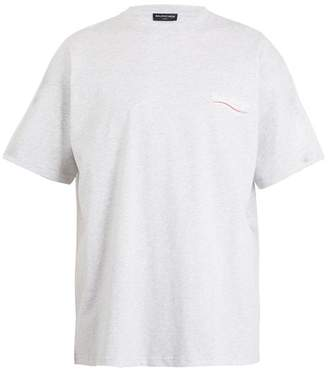 Balenciaga Logo Print Cotton Jersey T Shirt - Mens - Grey