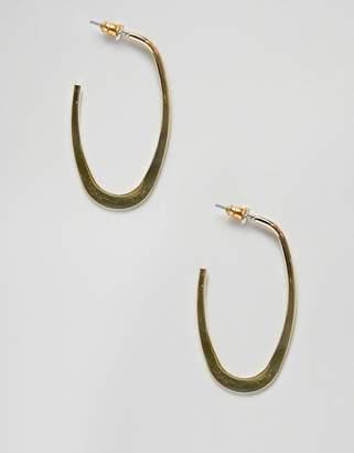 Asos Design DESIGN hoop earrings in flat edge oval design in gold