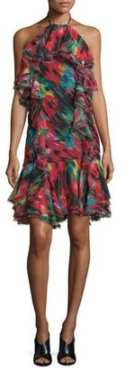 Jason Wu Silk Chiffon Halter Dress, Black/Multi $1,695 thestylecure.com