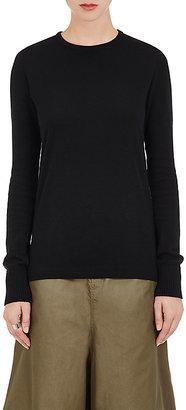 Yohji Yamamoto Women's Cotton Knit-Sleeve Shirt-BLACK $269 thestylecure.com