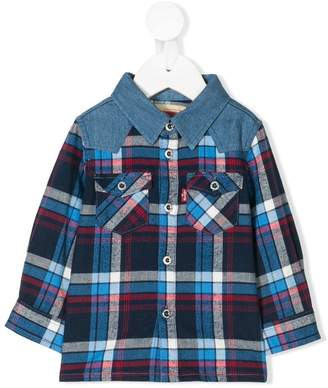 Levi's Kids plaid contrasting panel shirt