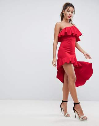 Asos High Low Ruffle Bodycon Mini Dress