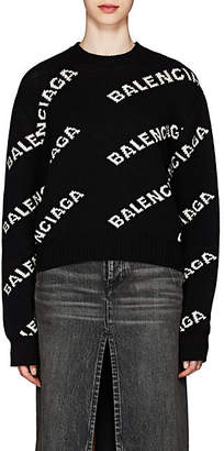 Balenciaga Women's Logo-Jacquard Sweater - Black