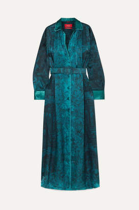 F.R.S For Restless Sleepers Belted Printed Hammered-satin Maxi Dress - Teal