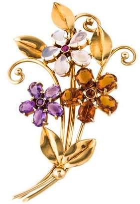 Tiffany & Co. 14K Multi-Gemstone Floral Motif Brooch
