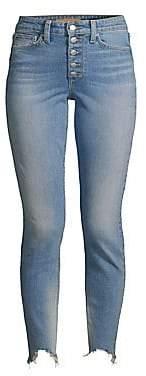 Joe's Jeans Women's Bella High-Rise Ankle Skinny Distressed Hem Button Jeans