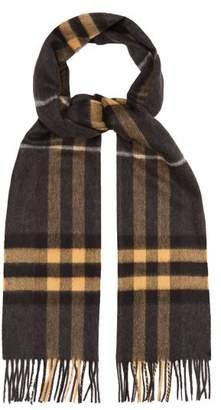 Burberry Check Cashmere Scarf - Mens - Grey