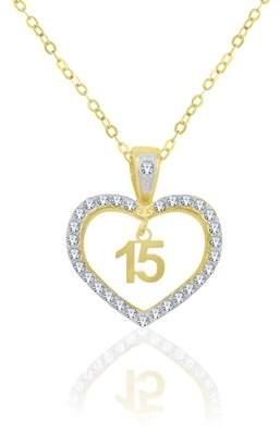 Generic 10K Yellow Gold Crystal Heart Quincenera Pendant