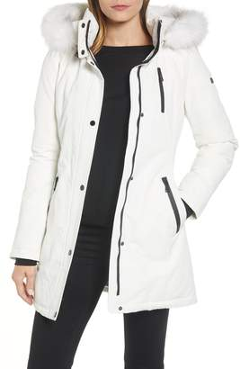 Tahari Whitney Faux Fur Trim Parka