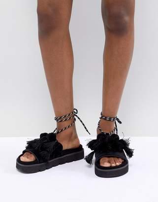 Asos DESIGN Fringey Premium Pom Pom Flat Sandals