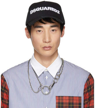 DSQUARED2 Black and White Logo Baseball Cap