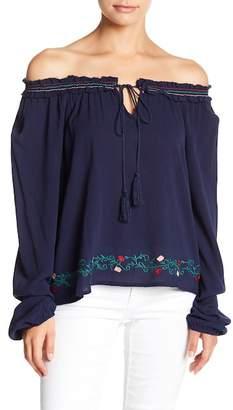 EMORY PARK Embroidered Off-the-Shoulder Blouse