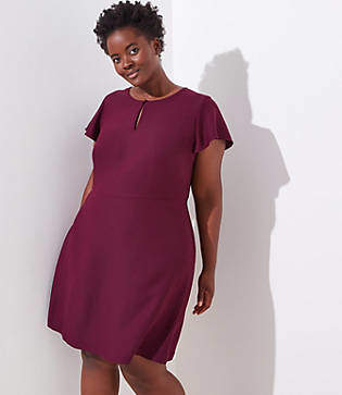 LOFT Plus Keyhole Flutter Flare Dress