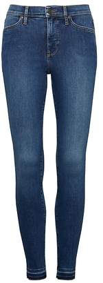 Banana Republic Petite High-Rise Legging-Fit Luxe Sculpt Medium Wash Ankle Jean with Fray Hem
