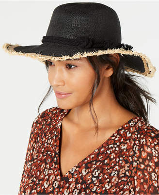 248863e9 INC International Concepts I.n.c. Twisted Straw & Rope Detail Floppy Hat