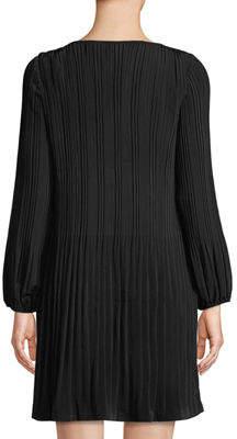 Catherine Malandrino Long-Sleeve Pleated Shift Dress