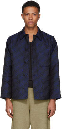 Blue Blue Japan Blue Satin Damask Jacquard Oversized Jacket