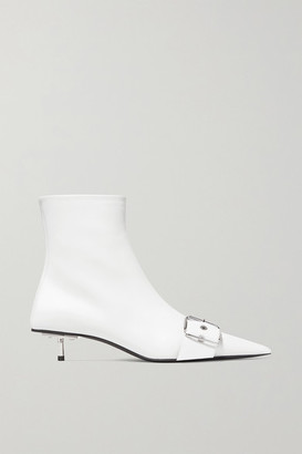 Balenciaga Belt Leather Ankle Boots - White