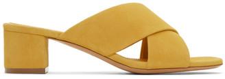 Mansur Gavriel Yellow Suede Crossover Sandals $475 thestylecure.com