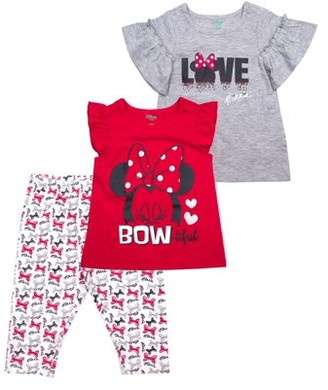 Minnie Mouse Love Ruffle Sleeve Tee, Tank and Capri Legging, 3-Piece Outfit Set (Little Girls)