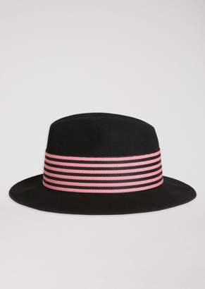 Emporio Armani Wool Fedora Hat With Two-Tone Band