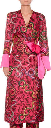 F.R.S For Restless Sleepers Geometric Snake-Print Self-Tie Silk Satin Robe