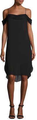 Alexander Wang Cold-Shoulder Silk Georgette Dress, Black