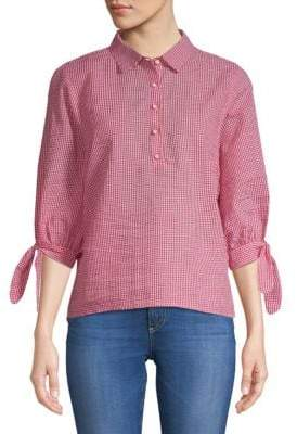 Quarter-Sleeve Gingham Top