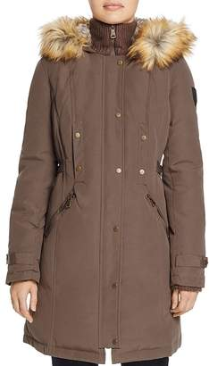 Vince Camuto Side Belted Faux Fur Trim Anorak
