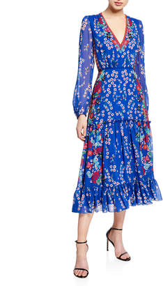 Saloni Devon Floral-Print Long-Sleeve Tiered Dress