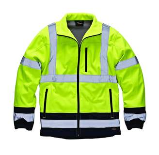 Dickies Mens Two-Tone Hi-Vis Waterproof Softshell Jacket (XL)