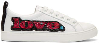 Marc Jacobs White Love Embellished Empire Sneakers