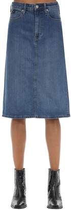 Calvin Klein Jeans ICONIC COTTON BLEND DENIM MIDI SKIRT