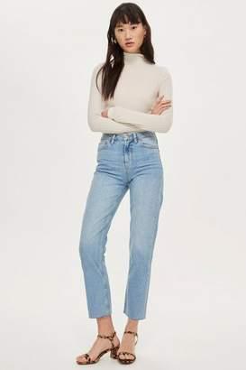 Topshop Bleach Raw Hem Straight Leg Jeans