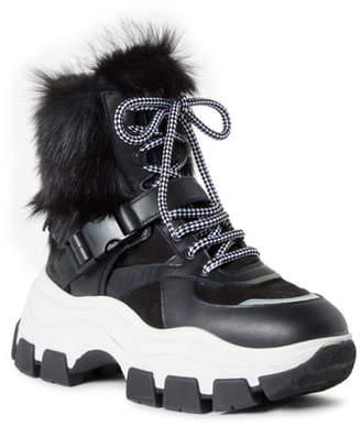Prada Genuine Shearling Platform Boot