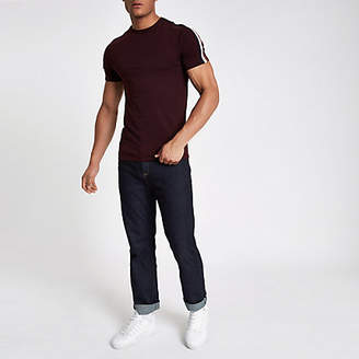 River Island Dark red muscle fit wasp embroidery T-shirt