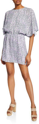 Parker Floral-Print Blouson Butterfly-Sleeve Dress